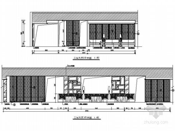 [杭州]现代新中式风格特色加盟连锁火锅店装修施工图(含效果)大厅立面图