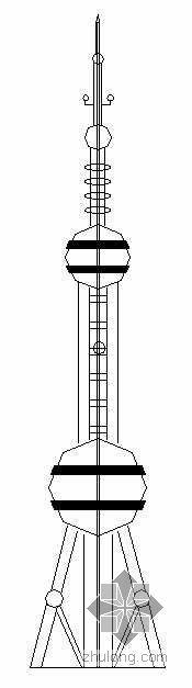 某30米仿东方明珠式不锈钢工艺塔建筑施工图