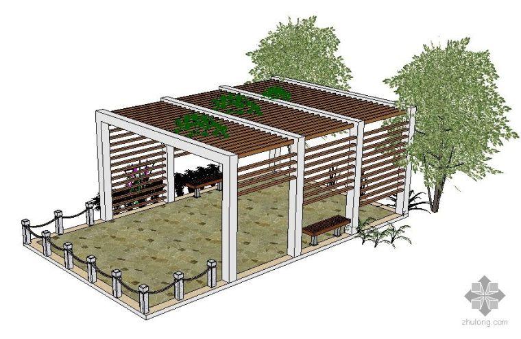 23个SketchUp景观模型---亭廊花架