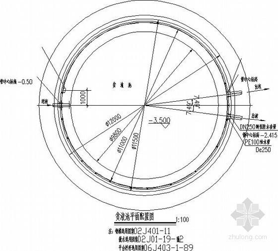 直径为10米圆形水池节点构造详图
