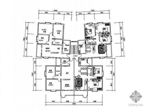 塔式高层一梯四北梯户型图(100/90)