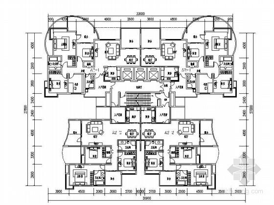 某高层塔式住宅户型平面图(149/160)
