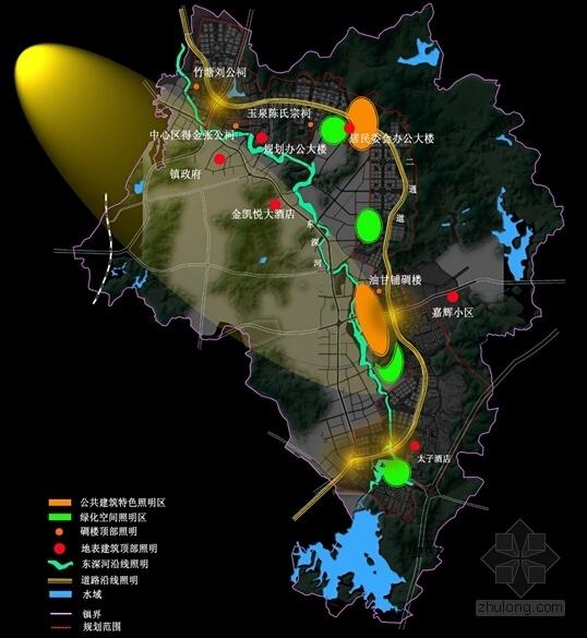 现代风格城市片区规划设计方案分析图