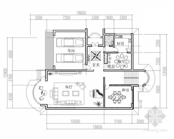 某三层独栋别墅户型图(688平方米)