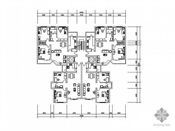 塔式高层一梯四户型图(126/95)