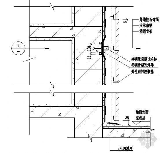 外墙挂石饰面节点防水构造(DBJ15-19-97)