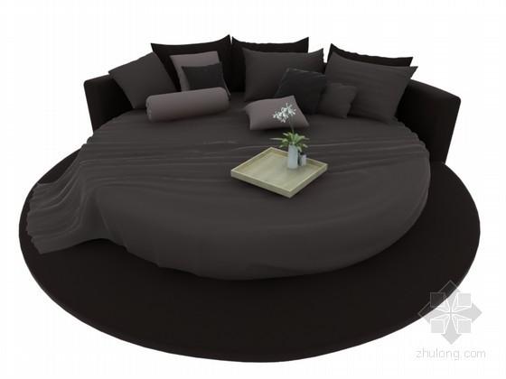 休闲圆形床3D模型下载
