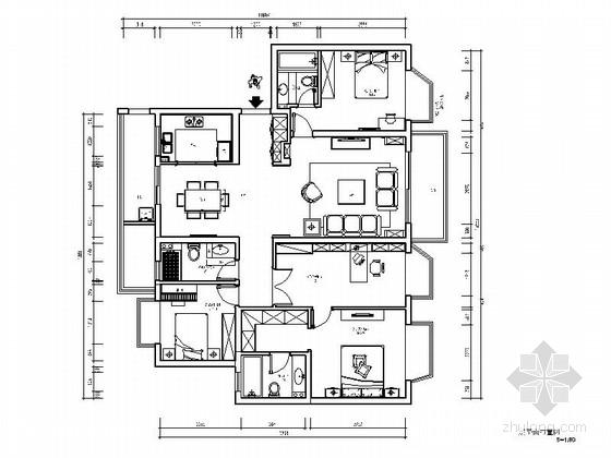 [南京]美式简约四居室样板间室内装修图(含实景)