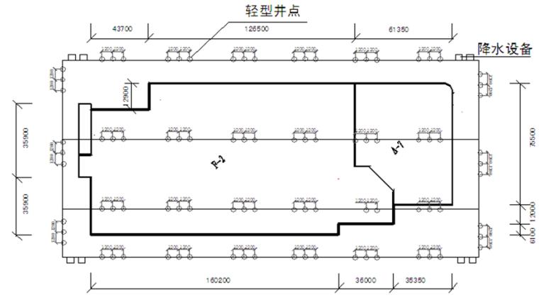 综合整治项目地下车库轻型井点降水施工方案-一级轻型井点降水剖面图