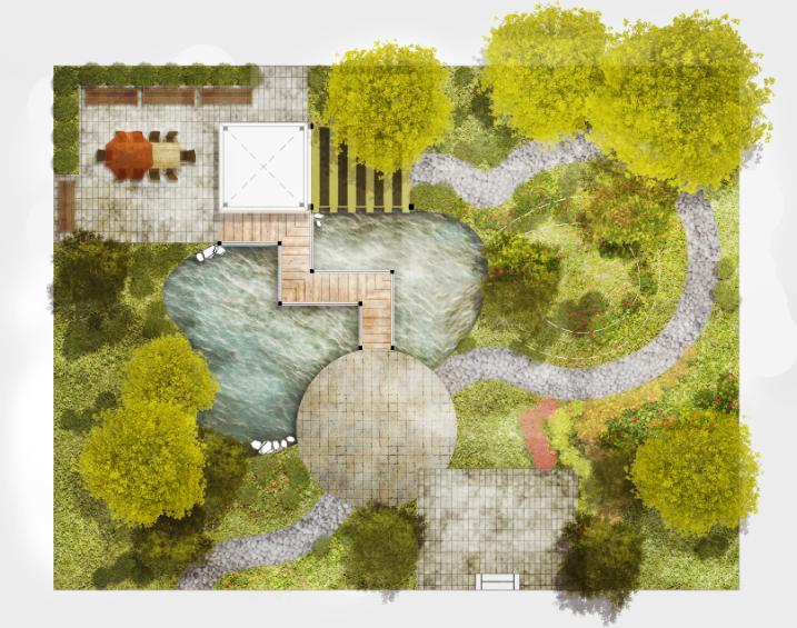 庭院景观平面图psd素材