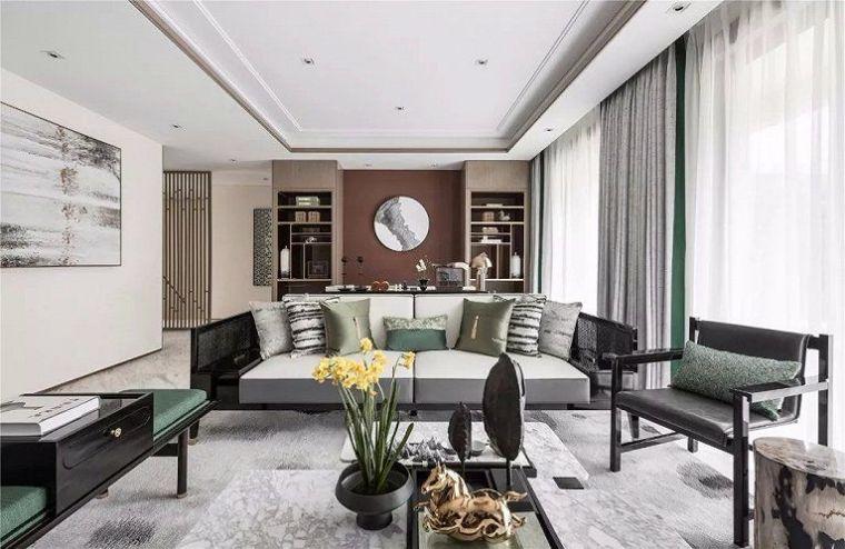 新中式沙发背景墙设计,美得像幅画!