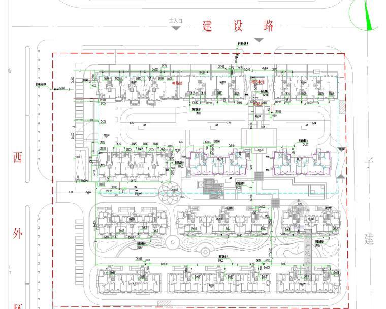 某小区室外管网水暖部分图纸(综合管线系统---雨污分流制)
