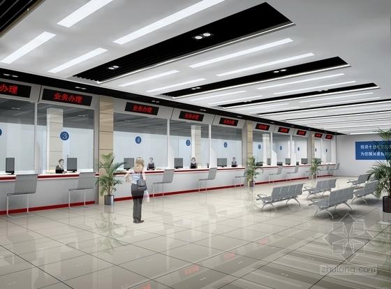 [北京]知名企业现代风格服务大厅室内CAD装修施工图(含效果图)大厅效果图