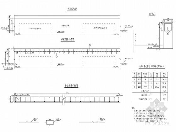 墙式护栏加高加固设计图(附工程量)