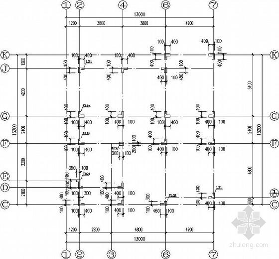 异形柱框架别墅结构施工图(平法)