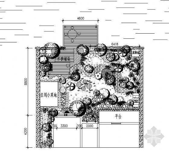 某私家庭院景观绿化布置平面图