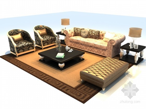 欧式奢华沙发3D模型资料下载-欧式奢华沙发3D模型下载