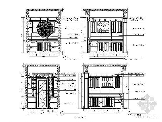 中式套房厨房立面图