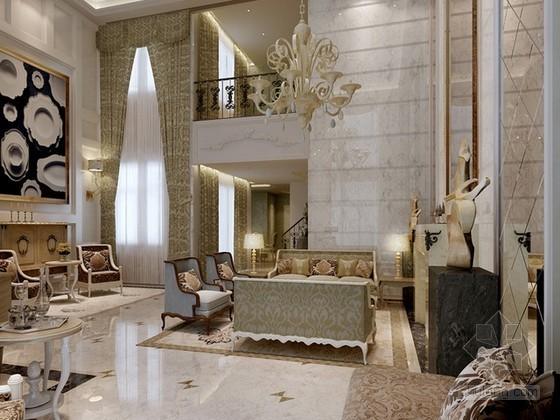 欧式古典风格别墅客厅3d模型下载