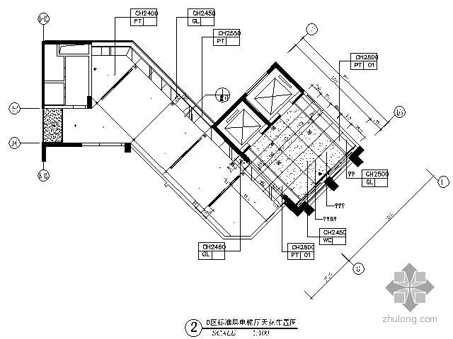 五星酒店标准层电梯厅施工图