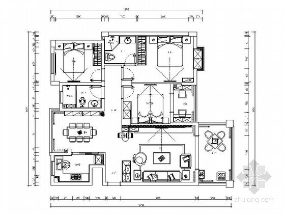 [湖南]经典简欧三居室家装室内设计施工图(含效果图)