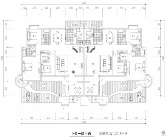 板式多层一梯二户四房二厅二卫户型图(148/148)