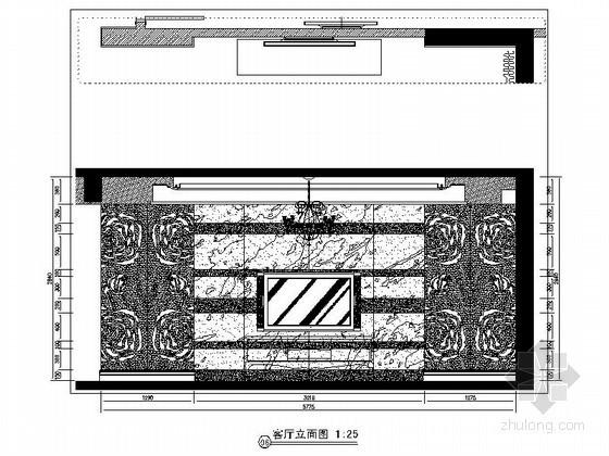 [重庆]某欧式四居室客厅立面图
