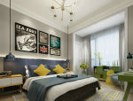 简约北欧风撞色卧室3D模型
