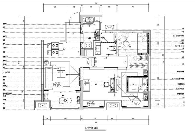 现代样板房室内施工图设计(CAD+实景图)