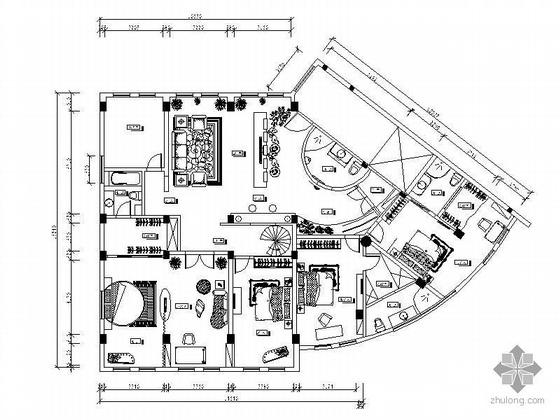 超大平层四居室住宅空间装修图