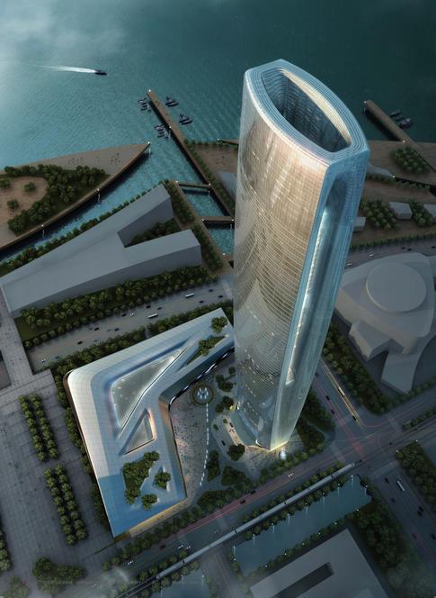 滨湖知名地产中心商务区超高层建筑设计方案
