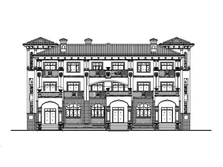 [成都]简欧风格三层平拼接联排别墅施工图