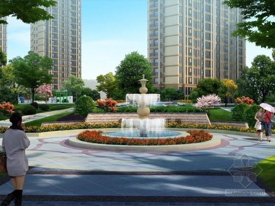 小区喷泉景观PSD分层素材下载