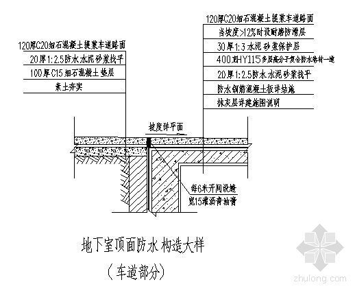 地下室顶面防水构造大样(车道部分)