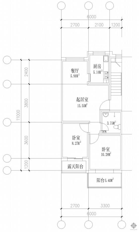 板式多层两室单户户型图(127)