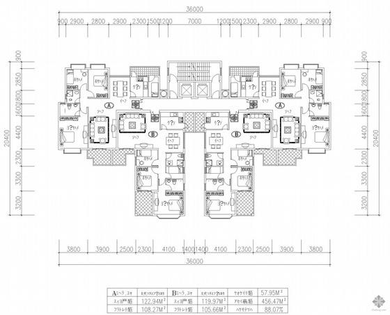 塔式高层一梯四户户型图(123/120/108/106)