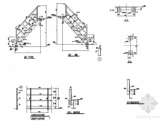 某单跑钢楼梯构造详图