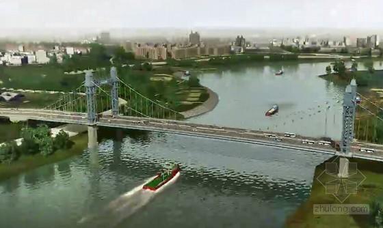 [湖北]钢混结合梁双塔双索面自锚式悬索桥总体施工方案动画演示(5分钟)