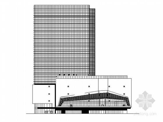 [南京]超高层铝合金墙面带底商研发办公楼建筑施工图