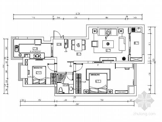 [杭州]两室两厅温馨小户型室内装修施工图(含效果图)