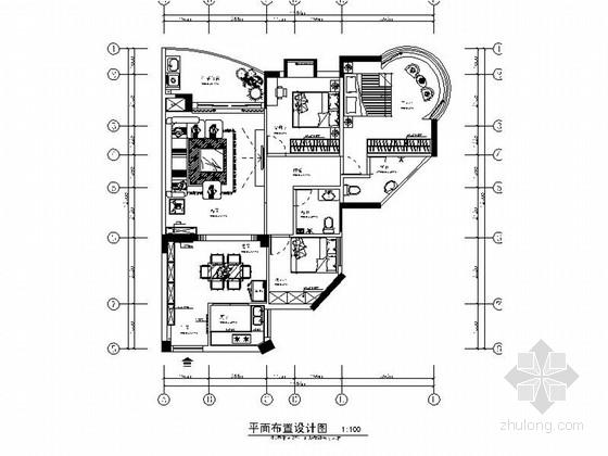 精品现代简约大气三居室室内设计装修施工图(含效果)