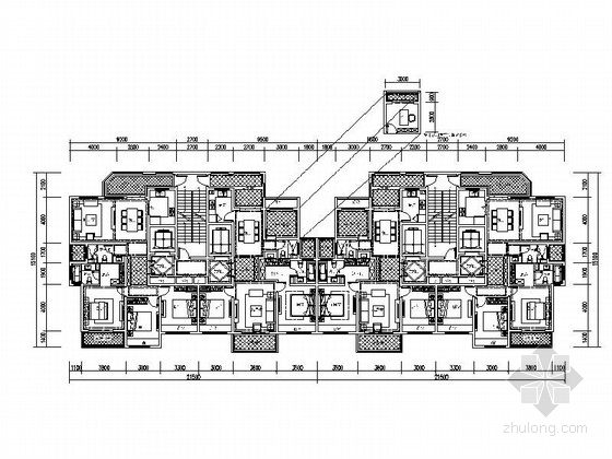 某高层住宅小区两梯两户平面图(118 142平米)
