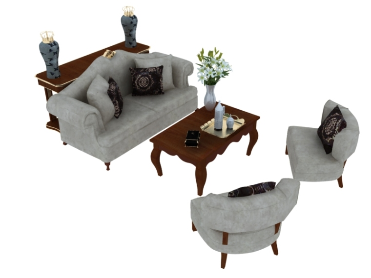 欧式休闲沙发茶几3D模型下载