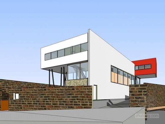 [库哈斯]巴黎艾瓦别墅建筑SketchUp模型