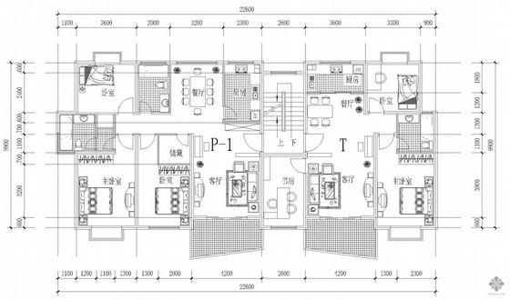 板式多层一梯两户户型图(129/100)