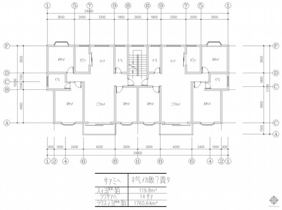 板式多层一梯二户户型图(120/120)