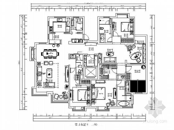 [北京]六环外简欧风情五居室样板房装修施工图(含效果)
