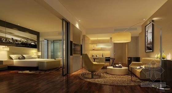 [深圳]龙华知名地产高档酒店式公寓设计装修方案图豪华套房效果图