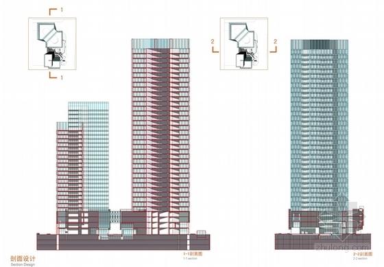 现代风格超高层办公楼设计方案剖面图