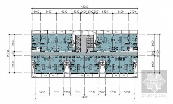 [武汉]超高层一梯四户塔式花园住宅楼建筑设计方案文本(含两套方案)-超高层一梯四户塔式花园住宅楼建筑平面图